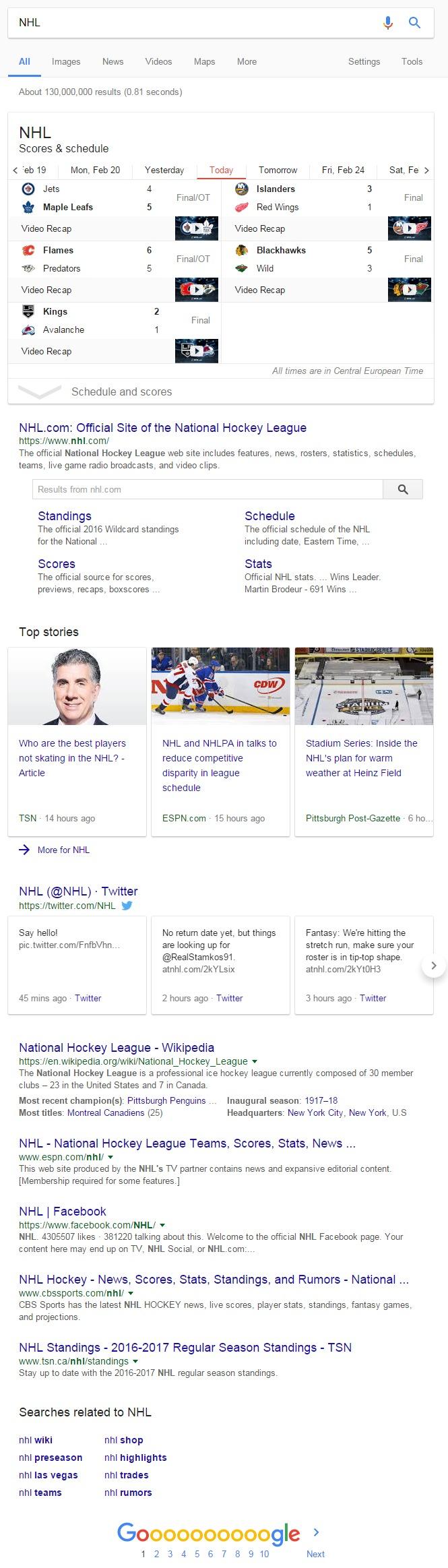 NHL Google rezultati