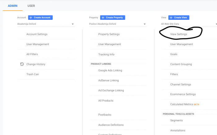 view settings in analytics