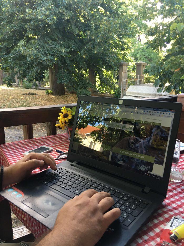 laptop terrace outside