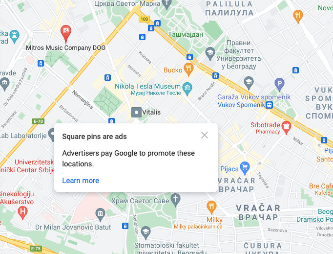 Google oglasi na mapama